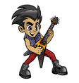 little rocker boy playing an electric guitar vector image