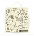 Shopping icons set Thin line vector image