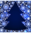 snowflake frame in the shape of a christmas tree vector image