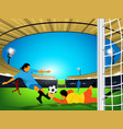 soccer game in an outdoor stadium a kick at the vector image