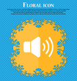 Speaker volume icon Floral flat design on a blue vector image