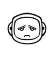 Thin line sad face icon vector image