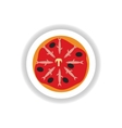 stylish paper sticker Pizza with salmon and olives vector image