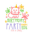 birthday party happy kids fun and games promo sign vector image