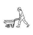 construction worker pushing a wheelbarrow vector image