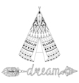 Hand drawn American native wigwam with ethnic vector image