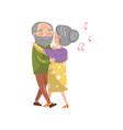 happy senior couple dancing cartoon vector image