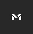 Letter M logo for business card black and white vector image