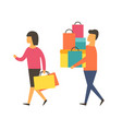 man and woman on sale shopping people vector image