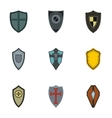 Military shieldd icons set flat style vector image