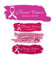 pink ribbon stickers set with brushstrokes vector image