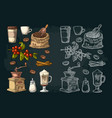 set coffee glass latte hand hold cup branch vector image