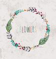 Spring flowers leaves dandelion grass on a vintage vector image