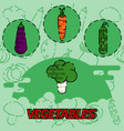 vegetables flat concept icons vector image