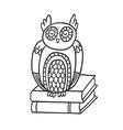 postcard with adorable sleepy owl books and plan vector image