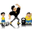 bodybuilder and kids vector image vector image