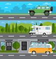 off road car camper van and retro bus on highway vector image