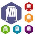 metal dust bin icons set hexagon vector image
