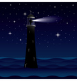 Lighthouse silhouette at night vector image
