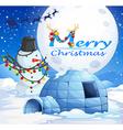 Christmas theme with snowman and igloo vector image vector image