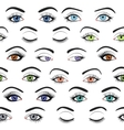 Set of female eyes and brows seamless vector image
