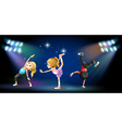Three kids dancing on the stage vector image