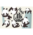 Cartoon panda bear set with lettering vector image
