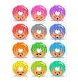 donut with glaze set of emoji facial expressions vector image