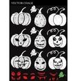 Hand Drawn Halloween Chalk Pumpkins Set vector image