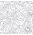 Outline seamless pattern with doodle flowers vector image