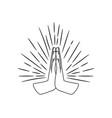 prayer hands sign sketch vector image
