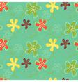 Retro Flowers Pattern Green vector image