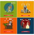 set of cinema art concept posters in flat vector image