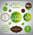 set of organic and farm fresh foodstickers vector image
