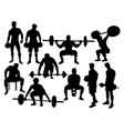 weightlifting action silhouettes vector image