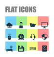 computer icons set collection of defense hdd vector image