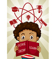 Boy reading and educational symbols vector image