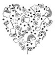 collection of irish symbols outline heart shape vector image