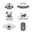 First set of grey vintage craft logo vector image