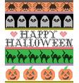 happy halloween pattern ghost pumpkin cat vector image