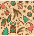 merry christmas seamless pattern with sketched vector image