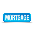 Mortgage blue 3d realistic square isolated button vector image