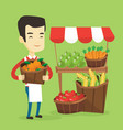 greengrocer with fruits and vegetables vector image