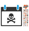 death skull calendar day icon with dating bonus vector image