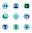 set of simple cinema icons vector image