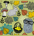 seamless pattern of mushrooms and forest animals vector image