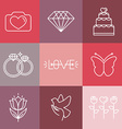 wedding and engagement line logos and icons vector image