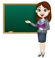 Cartoon female teacher standing next to a blackboa vector image