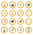 different religions cartoon icon circle vector image