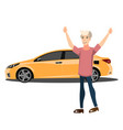 happy smiling man with new car vector image